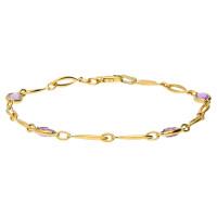 9ct Yellow Gold Amethyst Fancy Bracelet