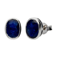 9ct White Gold 1.80ct Rub-Over Sapphire Solitaire Earrings