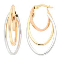 9ct Yellow White & Rose Gold Fancy Oval Hoop Earrings