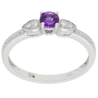 18ct White Gold Amethyst & Diamond Fancy Dress Ring