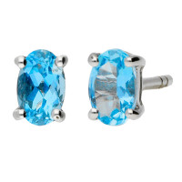 9ct White Gold 5mm Aquamarine Solitaire Oval Shape Stud Earrings
