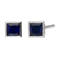 9ct White Gold 3mm Sapphire Solitaire Square Shape Stud Earrings