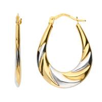 9ct Yellow & White Gold 27mm Hoop Earrings