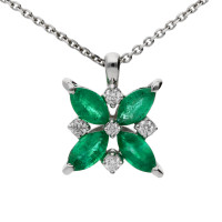 18ct White Gold Emerald & Diamond Flower Pendant