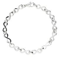 9ct White Gold 7.6mm Infinity Bracelet