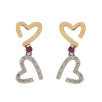 9ct Yellow Gold Diamond & Ruby Double Drop Heart Earrings