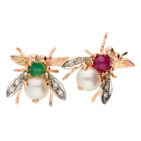 Handcrafted Italian 9ct Rose Gold Ruby, Emerald, Pearl & Diamond Bee Brooch