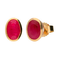 9ct Yellow Gold 6mm Ruby Solitaire Oval Shape Stud Earrings
