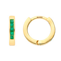 9ct Yellow Gold Emerald Hinged Hoop Earrings
