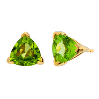 9ct Yellow Gold 6mm Trillion Cut Peridot Solitaire Stud Earrings