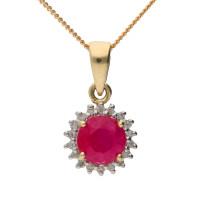 9ct Yellow Gold Ruby & Diamond Cluster Pendant