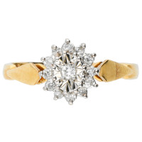 Vintage 9ct Yellow Gold 0.15ct Diamond Cluster Ring