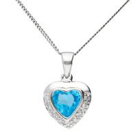9ct White Gold 0.90ct Topaz & Diamond Heart Pendant