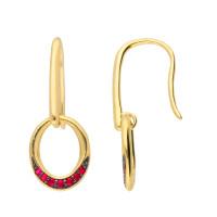 9ct Yellow Gold Ruby Drop Earrings