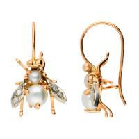 Handcrafted Italian Cultured Pearl & 0.10ct Diamond Bee Drop Earrings