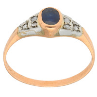 Handcrafted Italian 0.45ct Sapphire & Diamond Ring