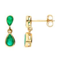 9ct Yellow Gold Emerald Double Drop Pear Shape Earrings