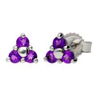 9ct White Gold Amethyst Trefoil Cluster Stud Earrings