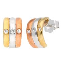 9ct White Yellow & Rose Gold Diamond Hoop Earrings