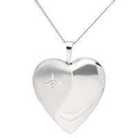 Silver Diamond Accent Heart Locket