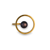 Sterling Silver Freshwater Pearl Orbit Halo Ring