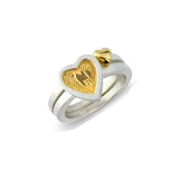 Sterling Silver Heart to Heart Stack Rings