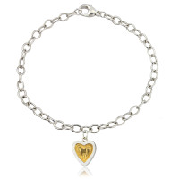 Sterling Silver Hearts of Gold Bracelet