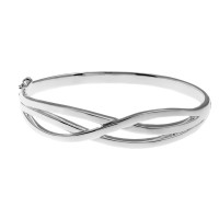 Sterling Silver Cross Over Design Hinged Bangle