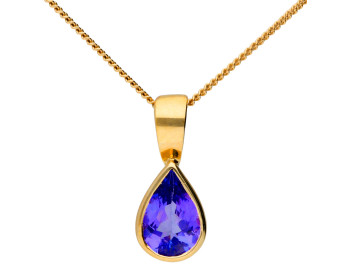 9ct Yellow Gold 7mm Tanzanite Solitaire Pear Shape Pendant