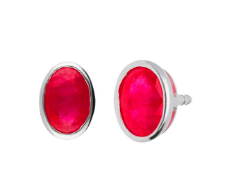 9ct White Gold 1.10ct Ruby Solitare Stud Earrings