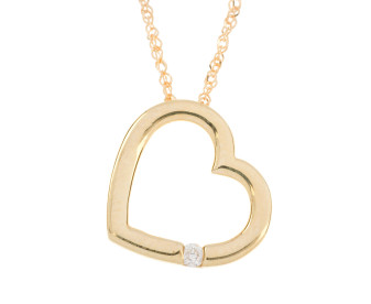9ct Yellow Gold Diamond Heart Pendant