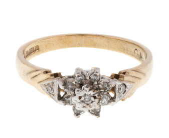Vintage 9ct Yellow Gold Diamond Cluster Ring