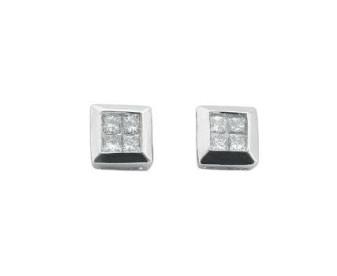 9ct White Gold 0.25ct Diamond Cluster Earrings