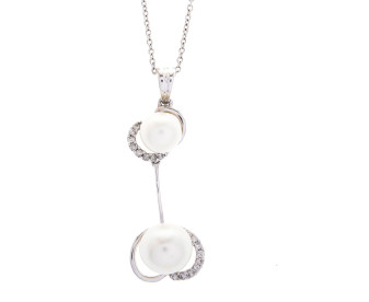 Pre-owned 9ct White Gold Diamond & Cultured Pearl Pendant