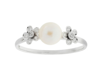 18ct White Gold Fresh Water Cultured Pearl & Diamond Flower Ring