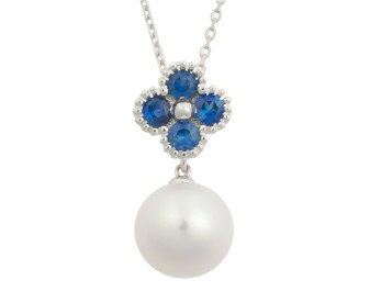 Limited Edition 18ct White Gold 0.50ct Sapphire & 9.5mm Freshwater Pearl Pendant