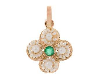 Handcrafted Italian 0.20ct Emerald & Pearl Clover Pendant