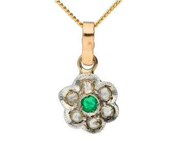 Handcrafted Italian Emerald & Diamond Floral Cluster Pendant