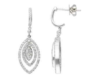 9ct White Gold 1ct Diamond Drop Earrings