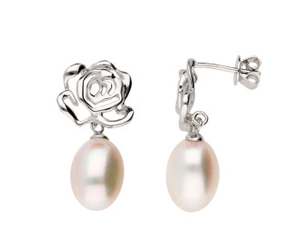 Sterling Silver Rose Stud Pearl Drop Earrings