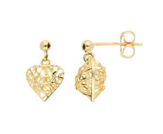 9ct Gold Heart Drop Earrings