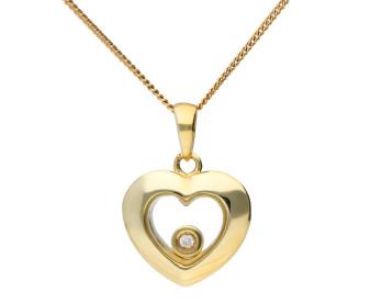 9ct Yellow Gold Floating Diamond Heart Pendant