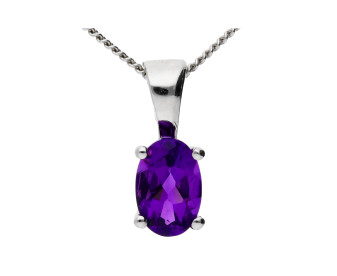 9ct White Gold 0.45ct Amethyst Solitaire Pendant