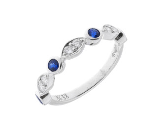 18ct White Gold 0.45ct Sapphire & Diamond Half Eternity Ring