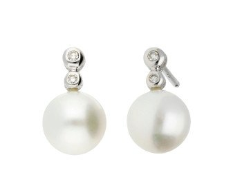 9ct White Gold Pearl & Diamond Earrings