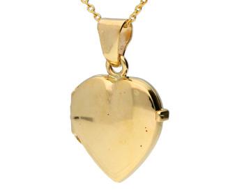 9ct Yellow Gold Plain Heart Locket