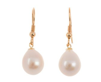 9ct Rose Gold Freshwater Pink Pearl Drop Earrings