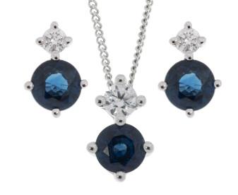 9ct White Gold 0.90ct Sapphire & Diamond Pendant & Earrings Jewellery Set
