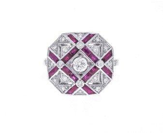 18ct White Gold 0.62ct Diamond & Ruby Dress Ring