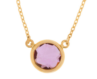 9ct Gold Amethyst Collet Set Necklace